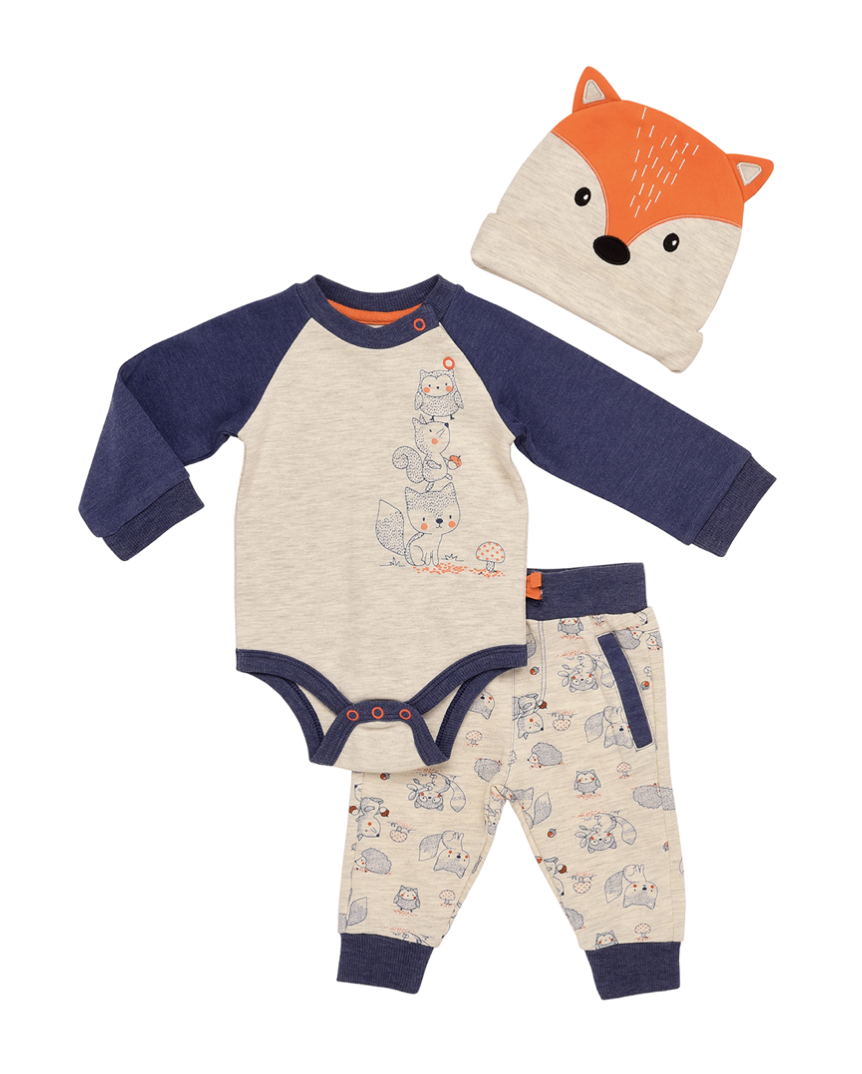 Baby Starters 3 Piece Forest Friends Bodysuit Pan and Hat Set in Oatmeal