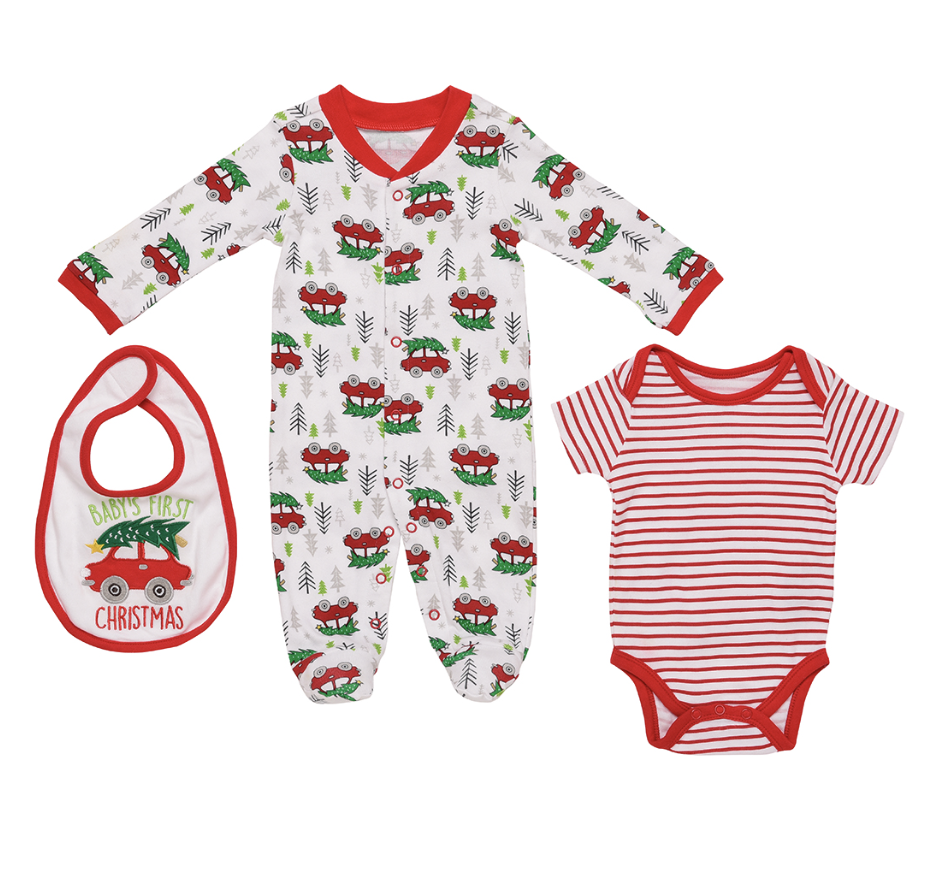 Baby Starters Holiday Sleep and Play Footie in White