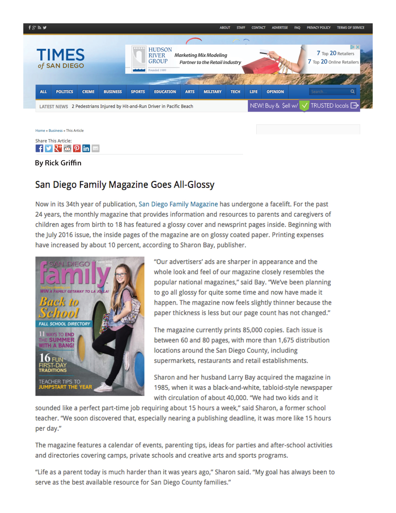 Artilcle about San Diego Family Magazine new glossy look.