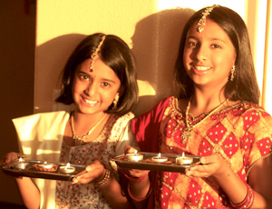 Girls with Diwali Lights