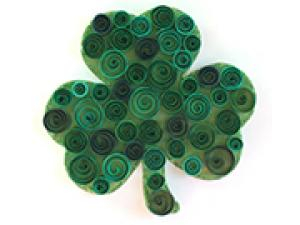 Craft this cute shamrock for St. Paddy's Day with green paper, glue and a little glitter.