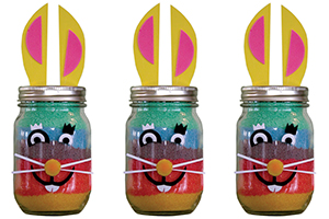 Make a rainbow bunny craft.