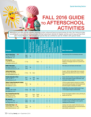 The San Diego Family Magazine Afterschool Activities Guide