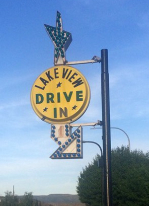 Lakeview drive-in sign.