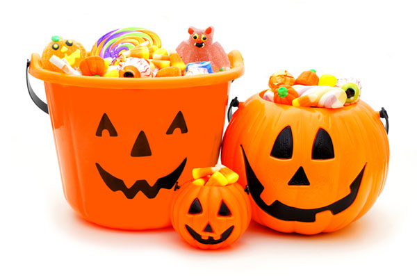 buckets of candy.