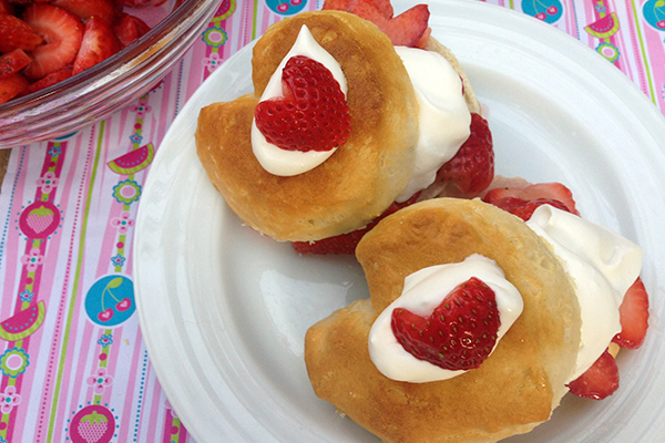 Strawberry shortcake hearts make a delicious Valentine's Day treat.