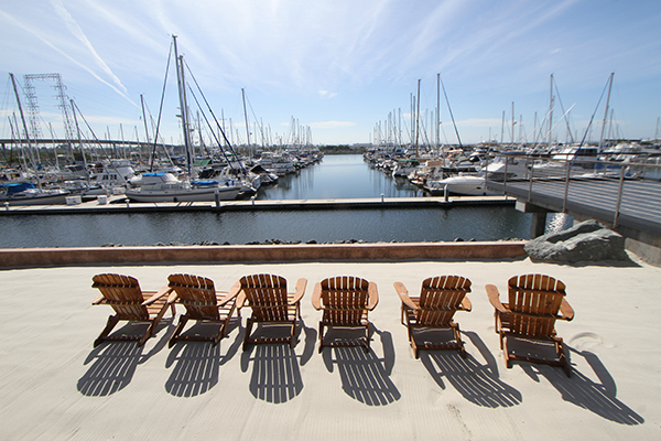 Chairs set out on the deck at pier 32 in National City.