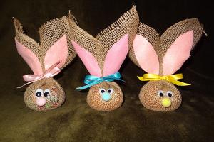 Burlap bunnies filled with Easter treats.