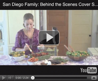 Go behind-the-scenes with Chef Marcela Valladolid, San Diego Family's November 2012 cover model.