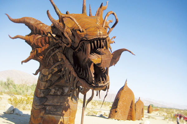 Visit Galleta Meadows and see the statues during your trip to Borrego Springs in San Diego County.