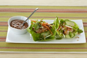 Chicken Lettuce Wraps with Spicy Peanut Sauce