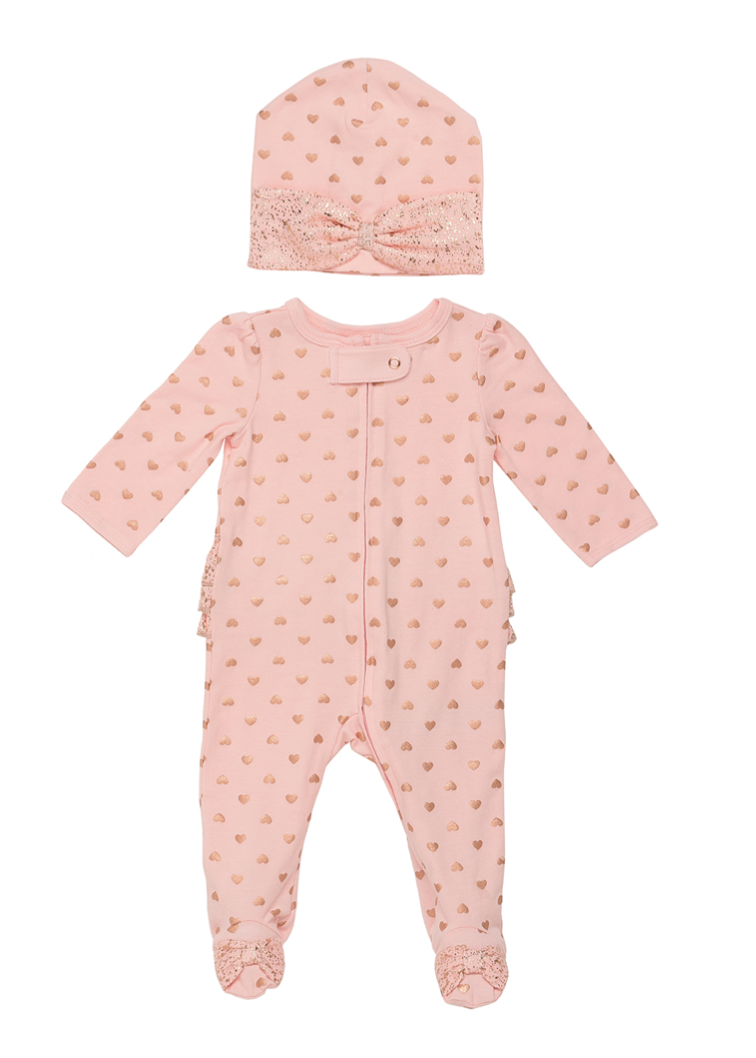 Baby Starters Sleep and Play 2 Piece Heart Footie and Cap Set in Pink