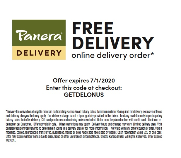 panera Bread Delievery Coupon
