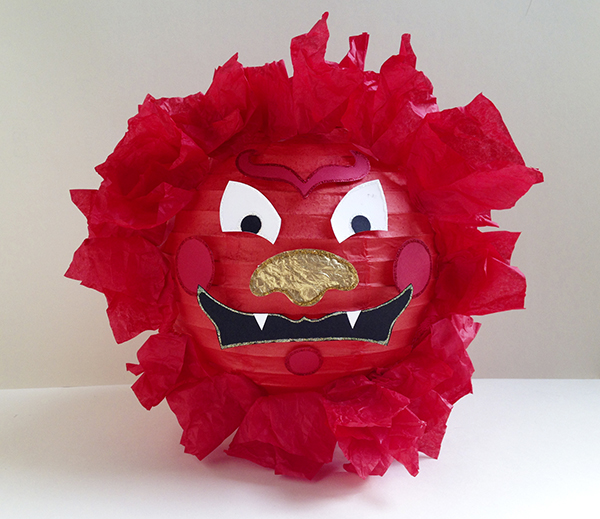 Make a Lion Lantern for Chinese New Year.