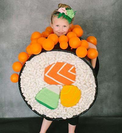 Make this cute sushi halloween costume.