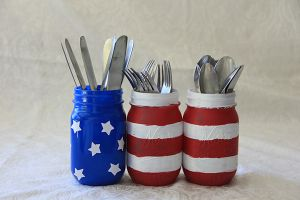 Art with Alyssa: Red, White & Blue Utensil Holder
